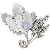 Silver Cloud Glittered Leaf & Berry Stems, Silver-Gray - Prima