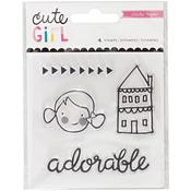 Mini Acrylic Stamps - Cute Girl - Crate Paper
