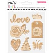 Cute Girl Wood Veneer Pieces - Crate Paper