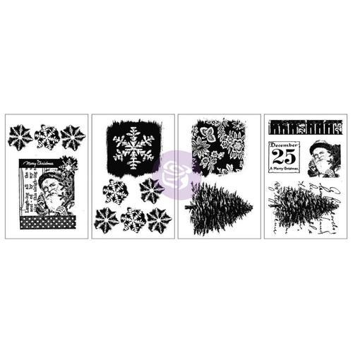 Snow and Santa Adhesive Rub-Ons - Prima