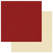 Dark Red - Cream Solid Paper - Holiday Cheer - Photoplay
