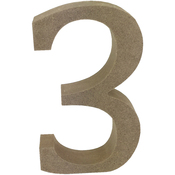 Serif Number 3 - Smooth MDF Blank Shape