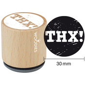"""Thx! - Woodies Mounted Rubber Stamp 1.35"""""""
