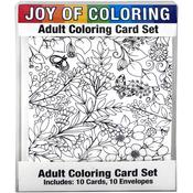 "Enchanted Gardens - Joy Of Coloring Adult Coloring Card Set 4""X5.5"""