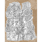 "Gifts - Diecut Coloring Card W/5.25""X7.25"" Envelope"