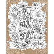 "Get Well Soon - Diecut Coloring Card W/5.25""X7.25"" Envelope"