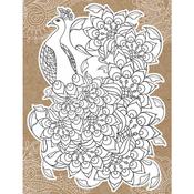 "Peacock - Diecut Coloring Card W/5.25""X7.25"" Envelope"