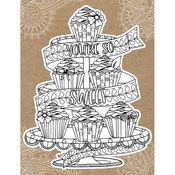 "Cupcakes - Diecut Coloring Card W/5.25""X7.25"" Envelope"