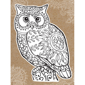 "Owl - Diecut Coloring Card W/5.25""X7.25"" Envelope"