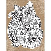 "Cat - Diecut Coloring Card W/5.25""X7.25"" Envelope"