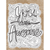 """You Are Awesome - Diecut Coloring Card W/5.25""""X7.25"""" Envelope"""