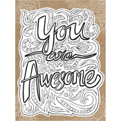 "You Are Awesome - Diecut Coloring Card W/5.25""X7.25"" Envelope"