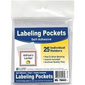 "Clear/White - Self-Adhesive Labeling Pockets 3.75""X3"" 25/Pkg"