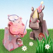 Gloria The Hippo/Rambo The Rhino - Box Pops On Safari A4 2/Pkg