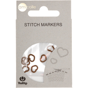 Heart/Brown/Small - Tulip Stitch Markers 7/Pkg