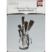 "Brushes In Jar - Donna Downey Signature Stencils 8.5""X8.5"""