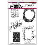 "Scribbled Text Elements - Dina Wakley Media Cling Stamps 6""X9"""