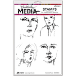 "Sketched Faces - Dina Wakley Media Cling Stamps 6""X9"""