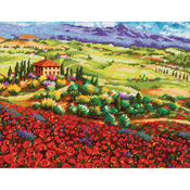"""14""""X11"""" Stitched In Thread - Tuscan Poppies Needlepoint Kit"""