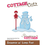 """Snowman W/Lamp Post, 2.8""""X2.5"""" - CottageCutz Die"""