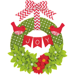 "14"" Round - Joy Wreath Felt Applique Kit"