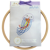 "Jelly Fish - Penguin & Fish Embroidery Kits 8"" Round Stitched In Floss"