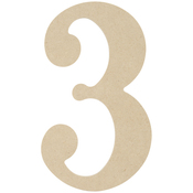"""3 - MDF Classic Font Wood Letters & Numbers 9.5"""""""