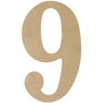 """9 - MDF Classic Font Wood Letters & Numbers 9.5"""""""