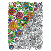 "Floral - Adult Coloring Canvas 16""X20"" W/12 Markers"