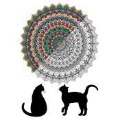 "Mandala Cat - Adult Coloring Canvas 16""X20"" W/12 Markers"