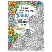 "Be Happy - Adult Coloring Canvas 16""X20"" W/12 Markers"