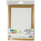 "Kraft W/Stitched White - Ken Oliver Water-Media Cards W/Envelopes 5""X7"" 6/Pkg"