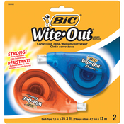 White - BIC EZ Correct Wite-Out Correction Tape 2/Pkg