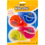 White - BIC EZ Correct Wite-Out Correction Tape 4/Pkg