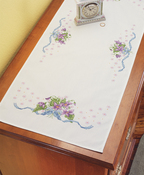 "Violets  - Stamped Cross Stitch Dresser Scarf 14""X35"""