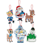 """5.25"""" Tall 14 Count Set Of 6 - Rudolph Ornaments Plastic Canvas Cross Stitch Kit"""