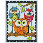 "5""X7"" 14 Count - Owl Trio Mini Counted Cross Stitch Kit"