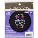 """3"""" Round 11 Count - Learn-A-Craft Sweet Sugar Skull Counted Cross Stitch Kit"""