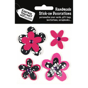4 Flowers - Black & Pink - Express Yourself MIP 3D Stickers