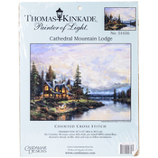 """16""""X12"""" 16 Count - Thomas Kinkade Cathedral Mountain Lodge Counted Cross Stitch"""