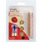 Heraldic W/Tan - Decorative 3 Coin Sealing Set W/Wax