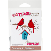 "Cardinals & Birdhouse, 3.5'x2.8"" - CottageCutz Die"
