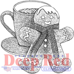 """Gingerbread Man & Cocoa - Deep Red Cling Stamp 3""""X1.5"""""""