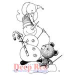 """Snowman Garland - Deep Red Cling Stamp 2""""X2"""""""