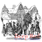 """Christmas Carolers - Deep Red Cling Stamp 2""""X3"""""""