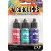 Beach Deco-Flamingo/Patina/Amethyst - Tim Holtz Alcohol Ink .5oz 3/Pkg
