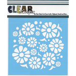 "Flower Power - Clear Scraps Stencils 6""X6"""