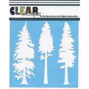 "Pine Trees - Clear Scraps Stencils 6""X6"""