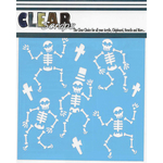 "Happy Skeletons - Clear Scraps Stencils 12""X12"""