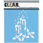 "Holiday Candles - Clear Scraps Stencils 12""X12"""